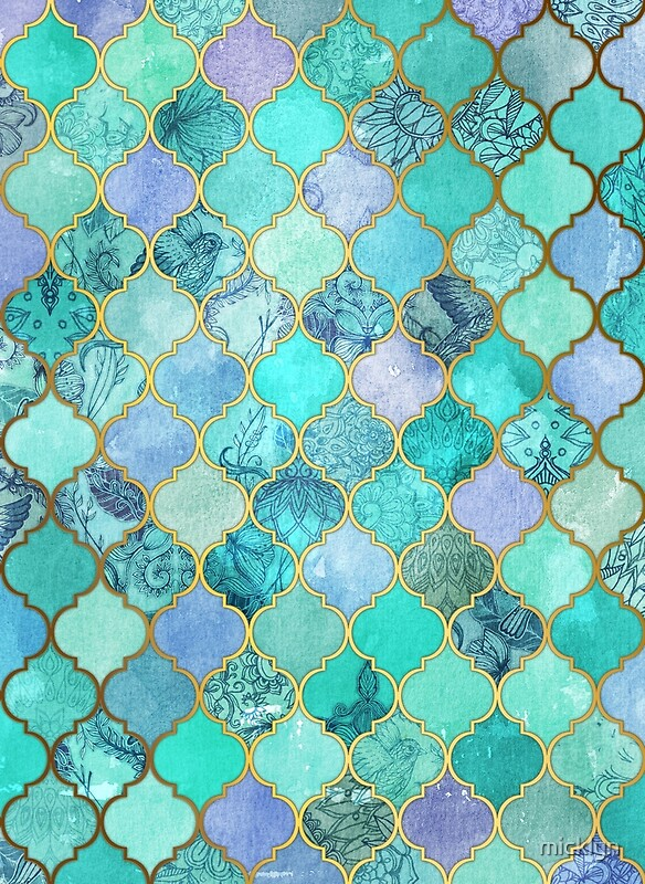 Cool Jade Icy Mint Decorative Moroccan Tile Pattern Posters By