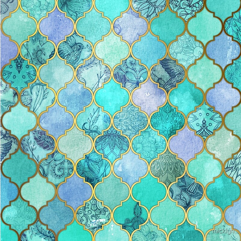 Cool Jade & Icy Mint Decorative Moroccan Tile Pattern\