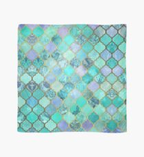 Cool Jade & Icy Mint Decorative Moroccan Tile Pattern Scarf