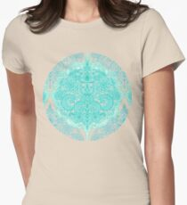 Happy Place Doodle in Mint Green & Aqua Womens Fitted T-Shirt