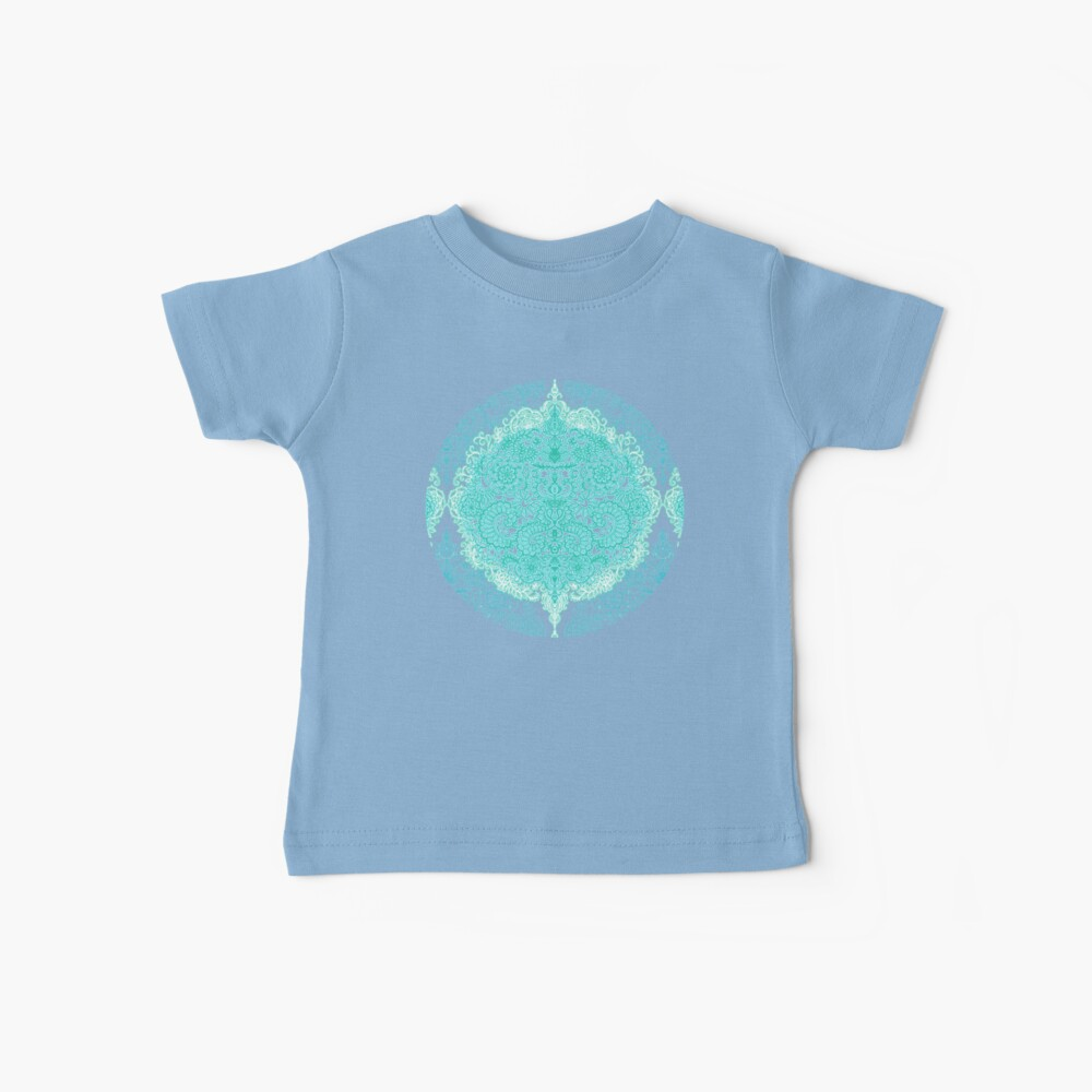 Happy Place Doodle in Mint Green & Aqua Baby T-Shirt