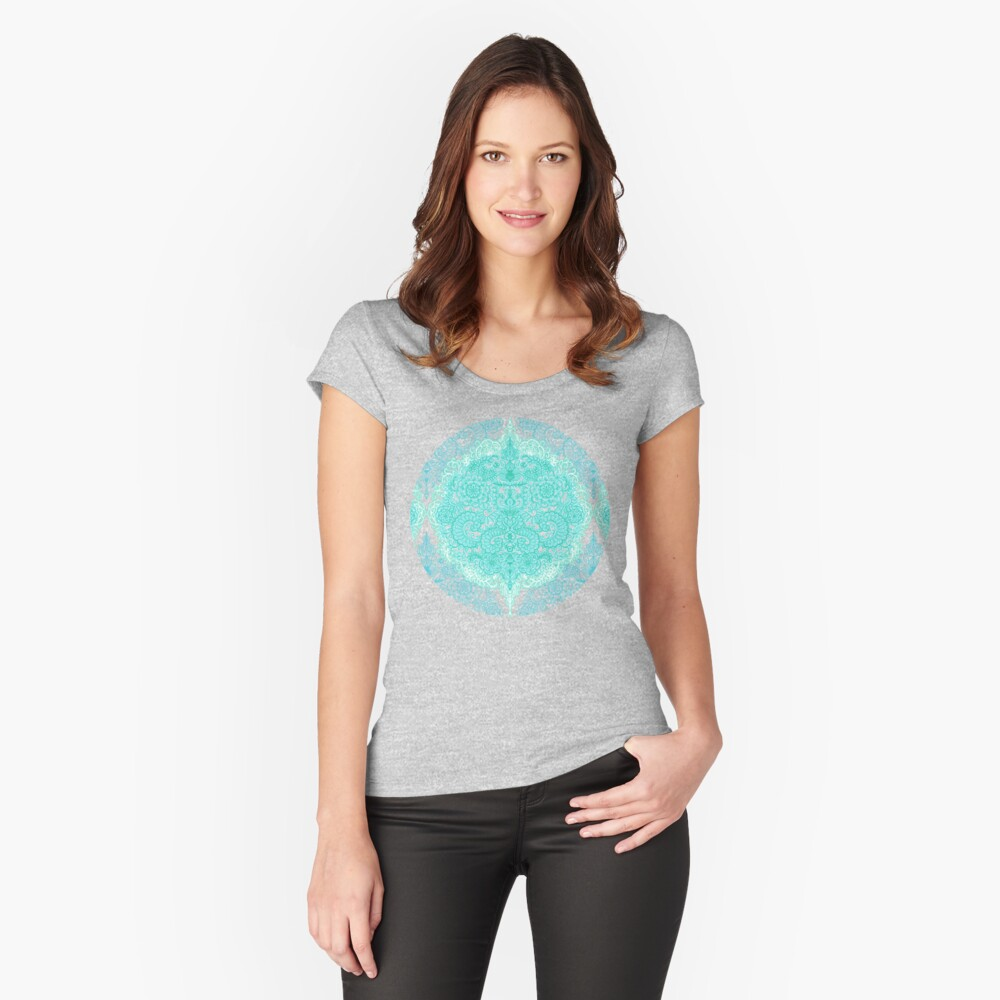 Happy Place Doodle in Mint Green & Aqua Fitted Scoop T-Shirt