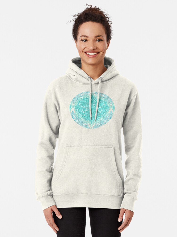 Alternate view of Happy Place Doodle in Mint Green & Aqua Pullover Hoodie