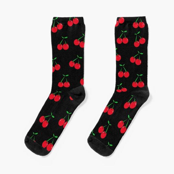 Cherries 2 (on black) Socks