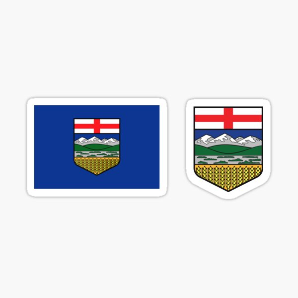 Alberta provincial flag with blue background Canada HD High Quality Online Store Sticker
