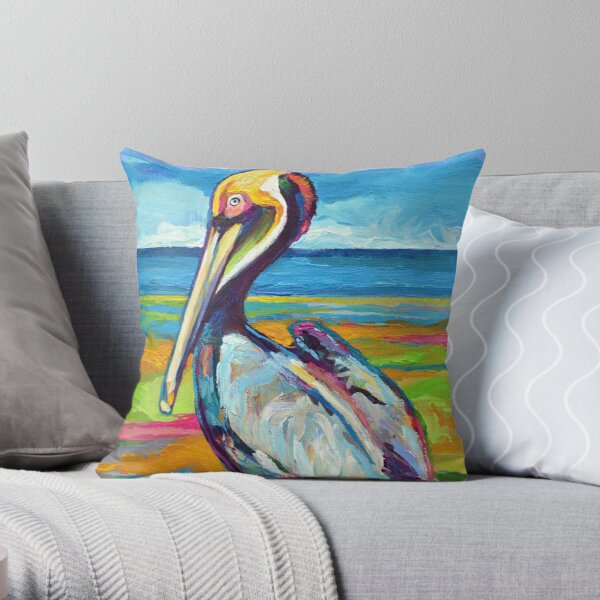 Colorful St Pete Pelican Throw Pillow