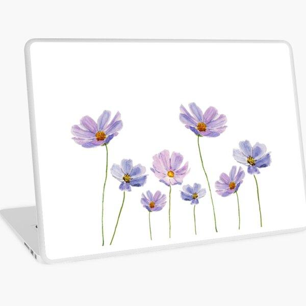 purple cosmos flowers watercolor Laptop Skin