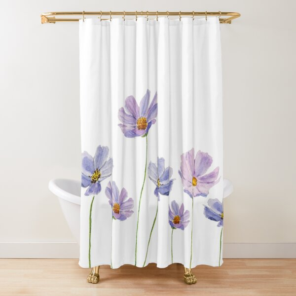 purple cosmos flowers watercolor Shower Curtain