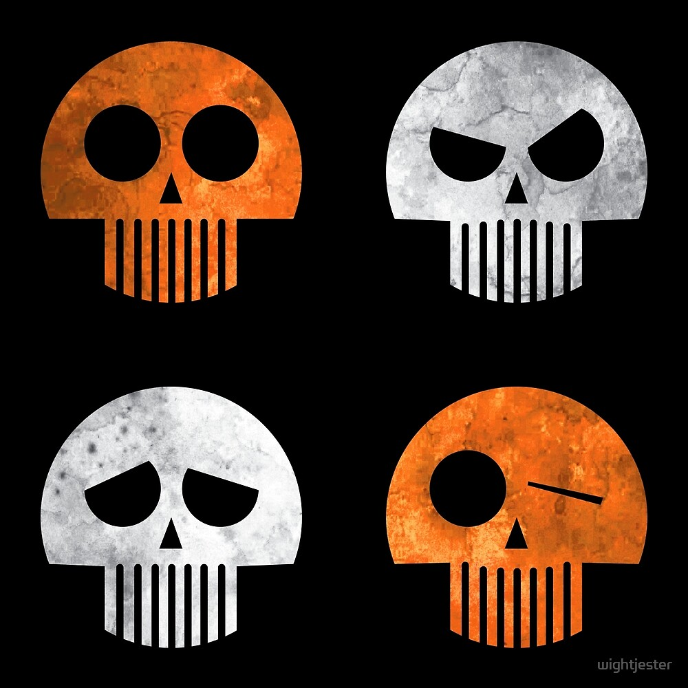 Halloween Four Skull - Orange and White by Wroxhawk