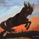 Leaping Black Stallion by artstoreroom