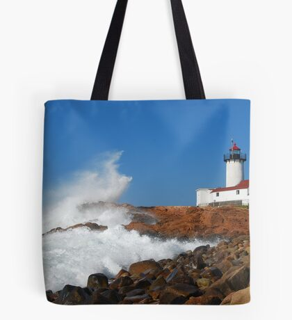Wave Breaks on Eastern Point Light - Gloucester Tote Bag