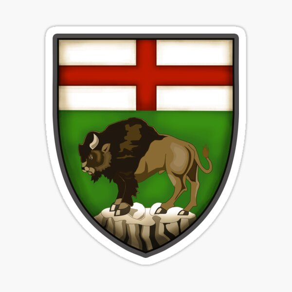 Manitoba flag Canada Bison Shield Coat of Arms province vintage style HD High Quality Online Store Sticker