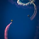 Naval Aviation Parachuters Abstract In the Sky  by Heather Friedman