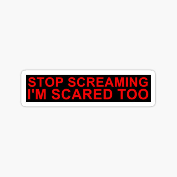 STOP SCREAMING I'M SCARED TOO Sticker