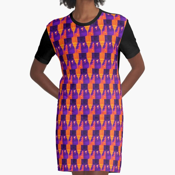 Neon Thermal Bats Graphic T-Shirt Dress