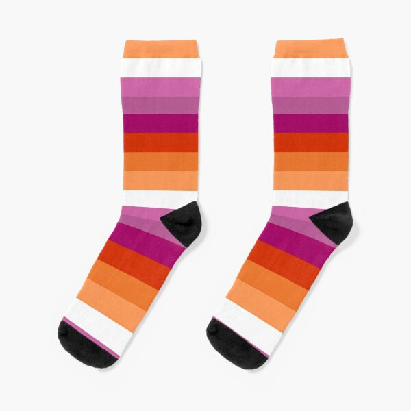 Orange - Magenta Lines // Lesbian Pride Flag // Butch Femme Pride Flag Socks