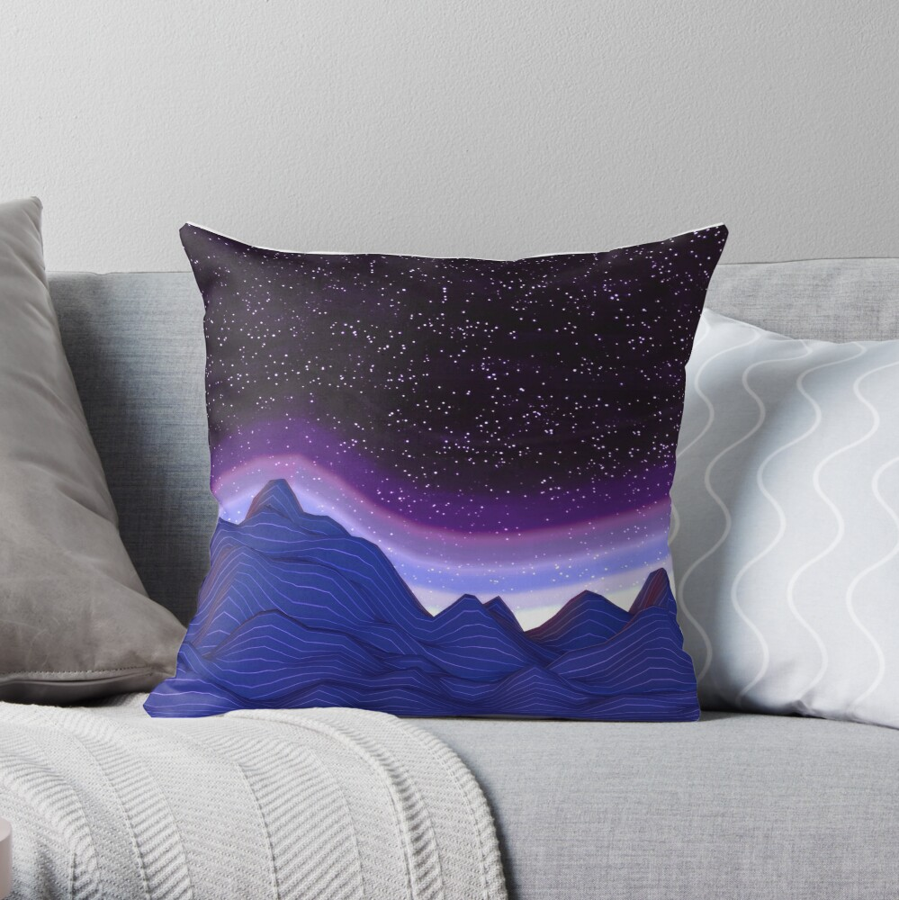 3D Mountains in Space Throw Pillow