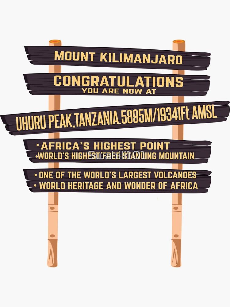 Mount Kilimanjaro Uhuru Peak Sign  by Swahili101