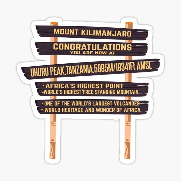 Mount Kilimanjaro Uhuru Peak Sign  Sticker