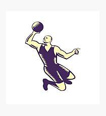 Basketball Player Dunk Ball Woodcut Photographic Print