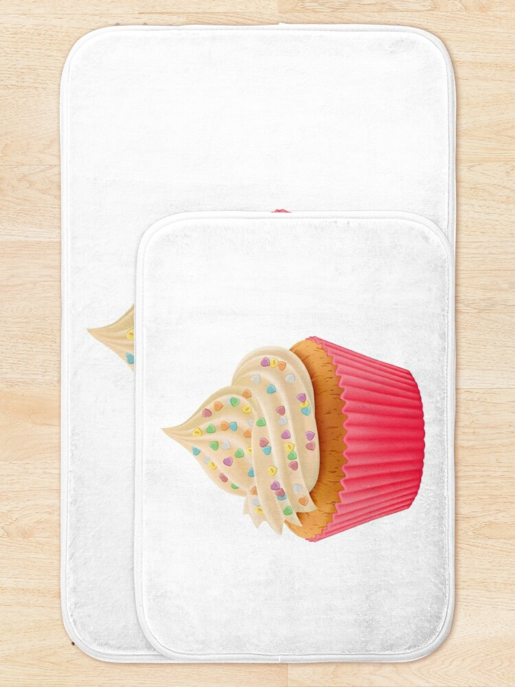 Alternate view of Sweet Giant Cupcake with colorful heart sprinkles  Bath Mat
