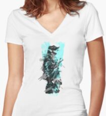 MGS5 (Blue) Women's Fitted V-Neck T-Shirt
