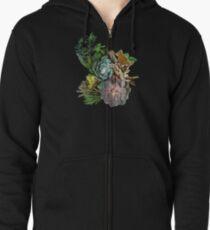 Succulent garden display Zipped Hoodie