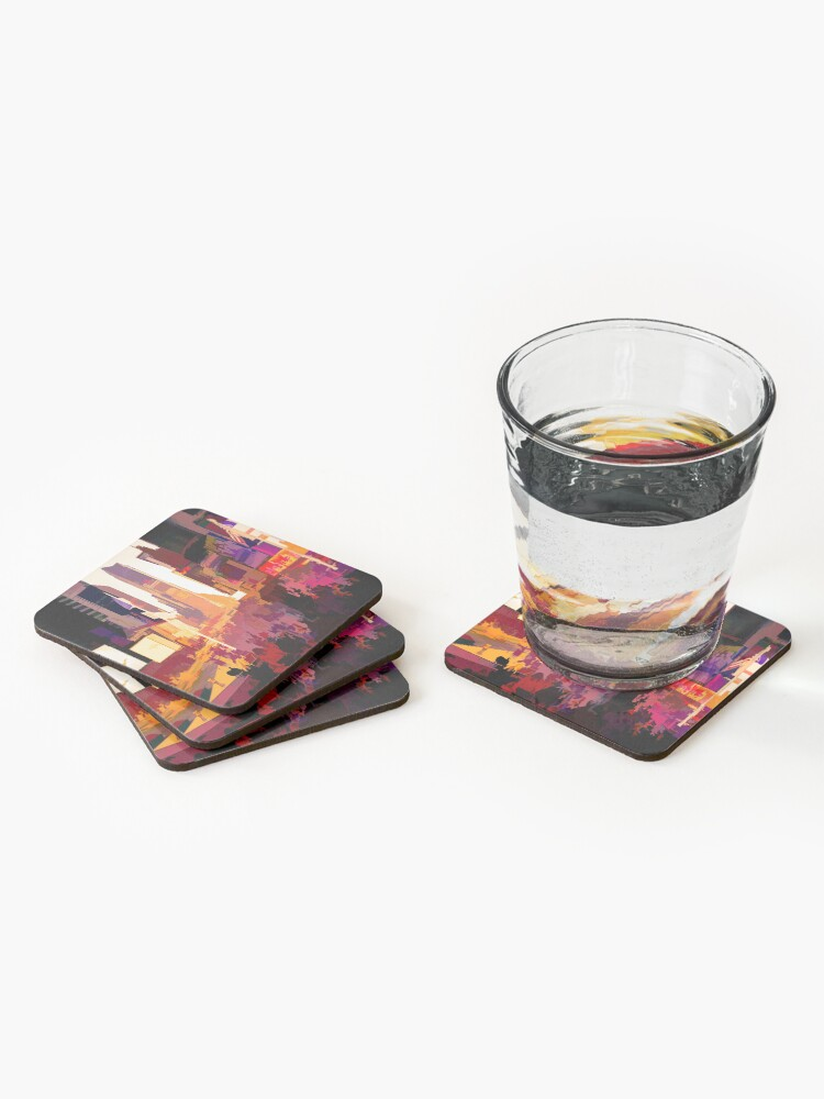 Alternate view of Times Square Tourists (color pen & ink) Coasters (Set of 4)
