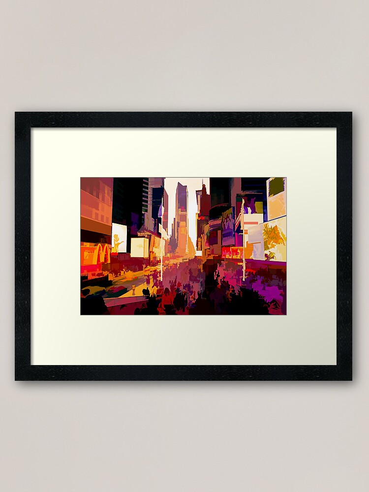 Alternate view of Times Square Tourists (color pen & ink) Framed Art Print
