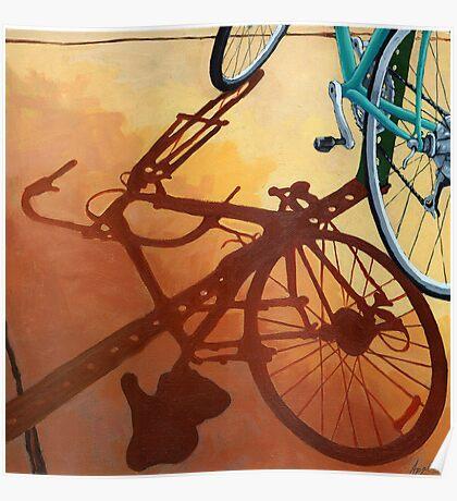 Aqua Angle - bicycle painting Poster
