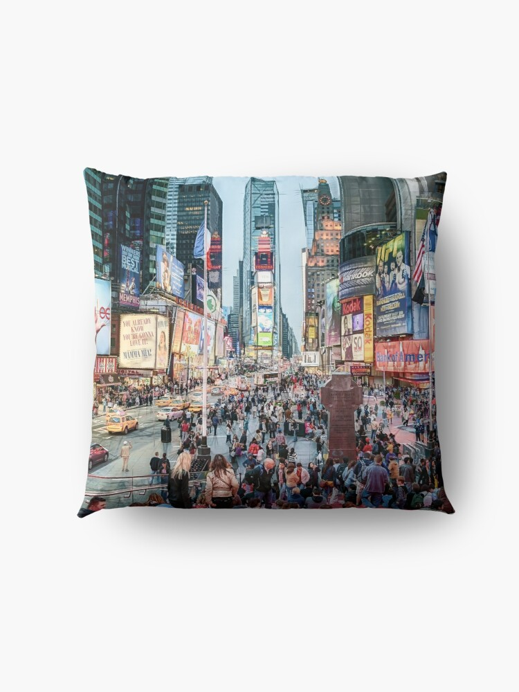 Alternate view of Times Square Tourists (color marker) Floor Pillow