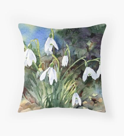 Snowdrops and Ivy Throw Pillow