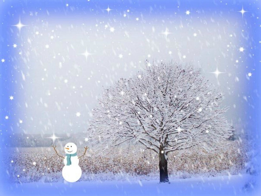 Snowman.Star.Blue by LeonaPaints