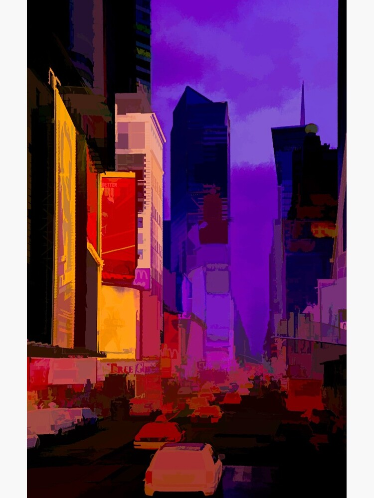 Times Square Broadway (colour pen & paint) by RayW
