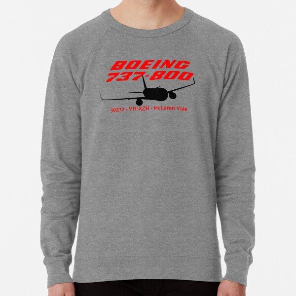 Boeing 737-800 39372 VH-XZH (Black Print) Lightweight Sweatshirt