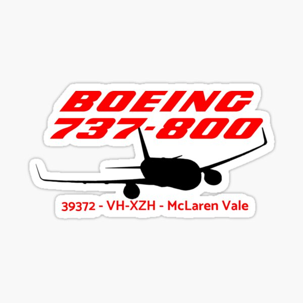 Boeing 737-800 39372 VH-XZH (Black Print) Sticker