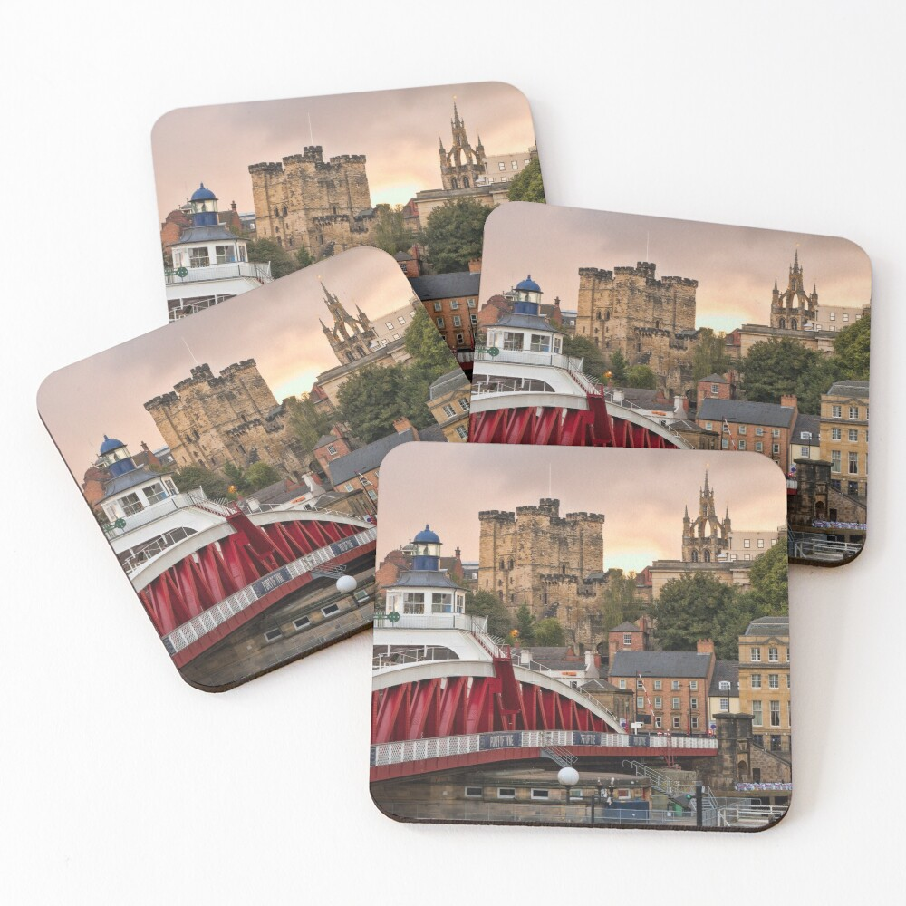 Swing Bridge and Castle Keep, Newcastle, Tyne and Wear Coasters (Set of 4)
