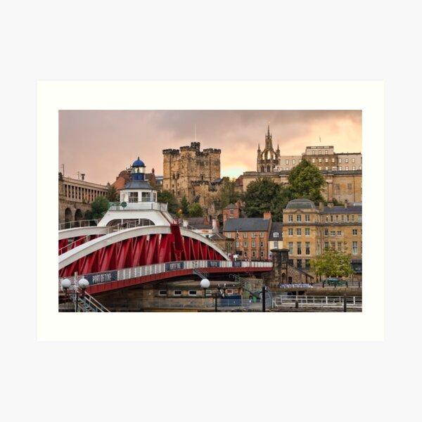 Swing Bridge and Castle Keep, Newcastle, Tyne and Wear Art Print