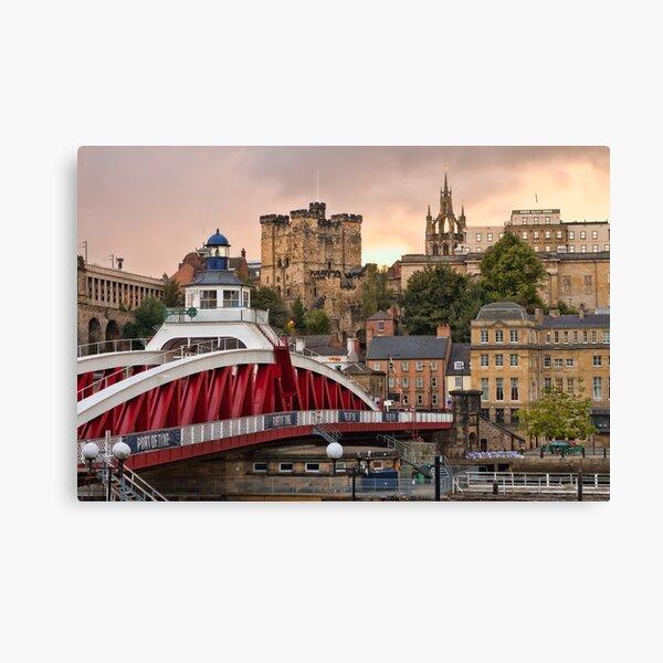 Swing Bridge and Castle Keep, Newcastle, Tyne and Wear Canvas Print