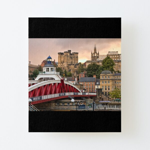 Swing Bridge and Castle Keep, Newcastle, Tyne and Wear Canvas Mounted Print