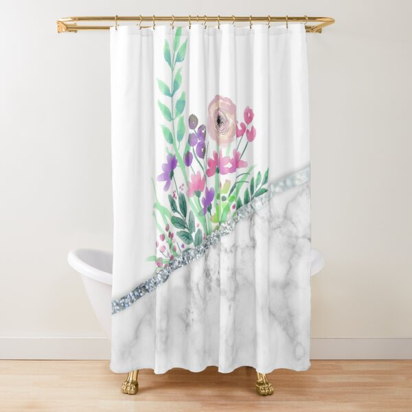 MINIMAL SILVER FLORAL MARBLE Shower Curtain
