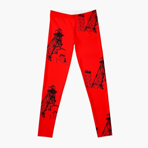 Butte Montana Headframe - Red Leggings