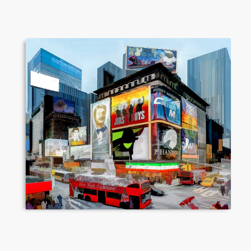 Times Square III (pastel pen & ink) Canvas Print