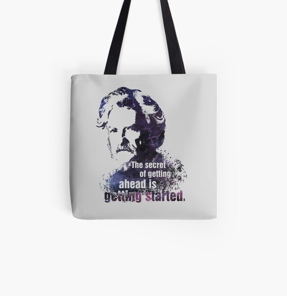 Mark Twain quote gift bag Tote bag gift birthday small shopping tote project bag Organic Cotton Mother/'s Day gift hand-printed bag