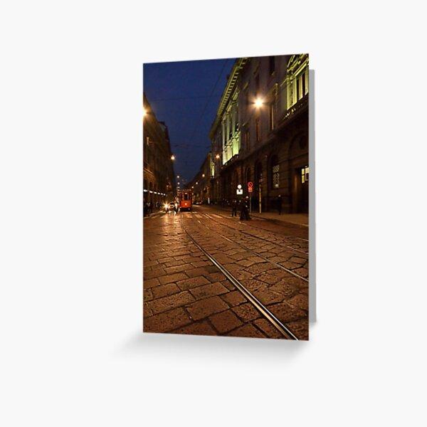 Per le vie di Milano di sera Greeting Card