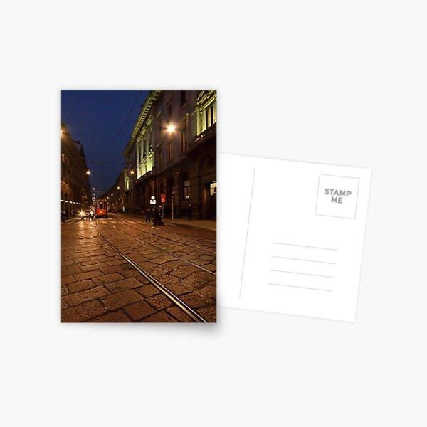 Per le vie di Milano di sera Postcard