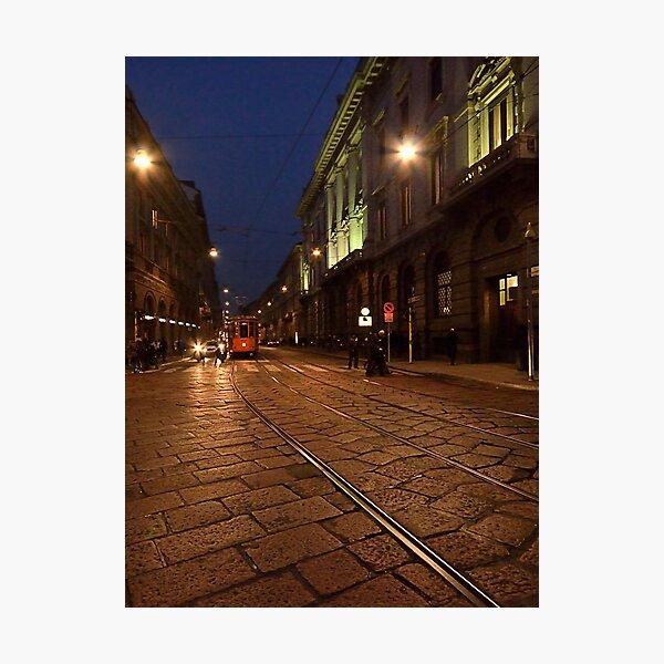 Per le vie di Milano di sera Photographic Print