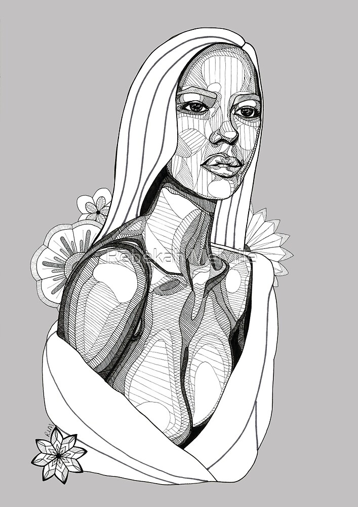 Lady in Towel with Flowers: Tonal Fineliner Drawing by Rebekah Melville