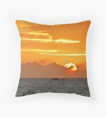 Sunset over Cow and Calf Throw Pillow