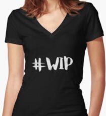 #WIP (white on black) Women's Fitted V-Neck T-Shirt